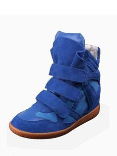 Blue Leather Within Increasing Height Shoes