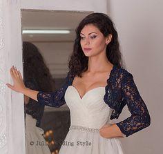 bolero jacket,shrug for bride,evening bolero shrug,long sleeve bolero,couture bolero,navy blue bolero,lace bolero jacket,wedding bolero Very