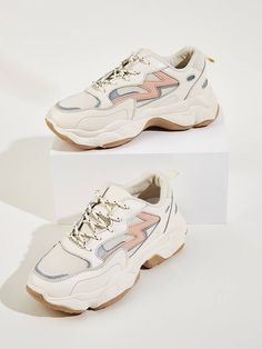 To find out about the Lace-up Front Chunky Sole Trainers at SHEIN, part of our latest Sneakers ready to shop online today! Dress With Sneakers, Casual Sneakers, Sneakers Fashion, Shoes Sneakers, Trendy Womens Sneakers, Latest Sneakers, Hype Shoes, On Shoes, Shoes Heels