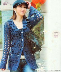 TRICO y CROCHET-madona-mía: Jersey a crochet para mujer con gráfico de puntos