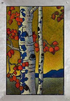 Artwork by Jerri Lisk Silk Painting, Painting & Drawing, Illustrations, Illustration Art, Arts And Crafts Movement, Art Plastique, Tree Art, Landscape Art, Oeuvre D'art