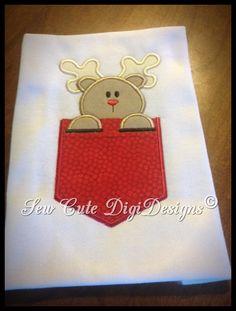 Pocket Peeking Christmas Reindeer  Faux by SewCuteDigiDesigns