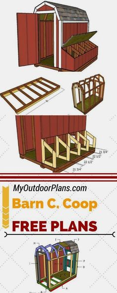 Check out my free barn chicken coop plans! If you want to grow chickens in your backyard this 4x8 coop is the ideal choice. See full and free plans at myoutdoorplans.com #ChickenCoopPlans