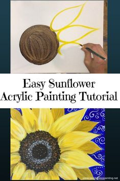How To Paint A Sunflower. How To Paint A Sunflower - Step By Step Painting - Tutorial. Learn how to paint a sunflower with acrylics on canvas. Beginners guide to painting a large yellow sunflower on canvas. Instructions and video included. Sunflower Canvas Paintings, Easy Canvas Painting, Acrylic Painting Techniques, Painting Lessons, Diy Painting, Painting & Drawing, Canvas Canvas, Acrylic Canvas, Paintings Of Sunflowers