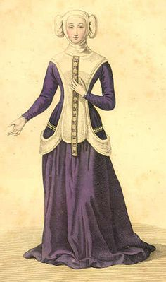 3. 1300-1400 Sideless surcote over a fitted gown with a plastron in the front