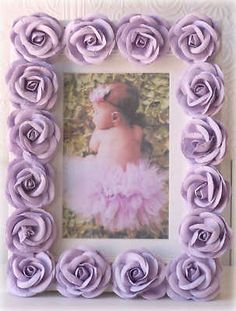 Lavender Roses Picture Frame Nursery Decor Baby Girl Photo Shabby Cottage Chic | best stuff