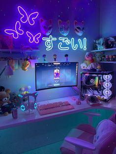 Gaming Room Setup, Pc Setup, Gamer Setup, Girl Room, My Room, Otaku Room, Gamer Room, Pc Gamer, Room Ideas Bedroom