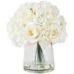Pure Garden Hydrangea and Rose Floral Arrangement With Vase, Cream -... ❤ liked on Polyvore featuring home, home decor, floral decor, silk rose bouquet, ivory artificial flowers, faux floral arrangement, floral arrangement and ivory silk flowers