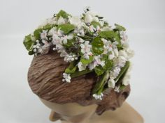 50s Bridal Headpiece Wire Frame Hat Lily of the Valley Violets TREASURY ITEM