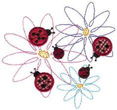 ladybug embroidery | Ladybugs On Flowers embroidery design