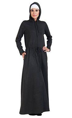 90c984c2474 East Essence Fleece Hoodie Abaya-Black-Black-5XL