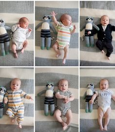 Let your child's favorite lovey be his sidekick in monthly photos like Kristen Honeycutt did for her son, Max. The stuffed animal may start out the same size as baby, but by the end of the year, your kid's lanky limbs will dwarf the plush ones.   - CountryLiving.com