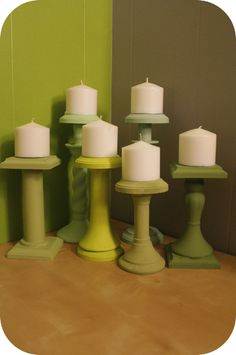 Abby Elaina shows you how to turn old thrift store junk into these adorable mismatched candle holders. View full craft tutorial here: http://pschhicanmakethat.com/?p=481