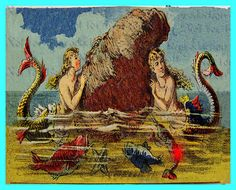 s570 VINTAGE VICTORIAN MERMAIDS Quilt by wwwvintagemermaidcom, $7.00
