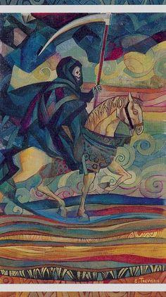 Similar color scheme, different Death  La muerte tarot