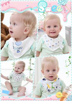 Smiling Baby Extra Absorbent 4 - Pack Cotton Baby Bandana Drool Bibs, Unique Cute and Modern Trendy Design, Fashionable Unisex Bibs (Boys & Girls), a Perfect Gift