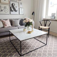 Accent soffbord marmor kvadrat, 75x75, vit/svart  Soffbord ...