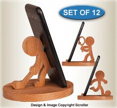 All Scroll Saw Projects - Sports Character Cell Phone Holders Pattern Set Wooden Phone Holder, Wood Phone Stand, Cell Phone Stand, Cell Phone Holder, Small Wood Projects, Fun Projects, Wooden Art, Wooden Toys, Wood Toys Plans