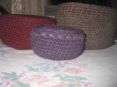 Nesting Bowls Crochet Housewares Purple Red Topaz by AlpacaShack