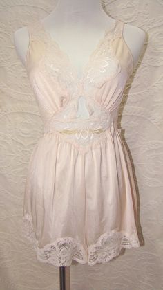 4ce8f8eb3b Vintage Olga Teddy Romper Bodysuit with Stretch Lace Formfit Bodice and  Wide Legs. Pale Pink. Medium