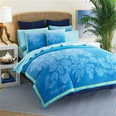 Shop for Tommy Hilfiger Santa Cruz Full/ Queen-size Comforter Set. Get free delivery On EVERYTHING* Overstock - Your Online Fashion Bedding Store! Tropical Bedding, Tropical Bedrooms, Beach Bedding, Dorm Bedding, Luxury Bedding, Blue Bedrooms, Coastal Bedding, Hawaiian Theme Bedrooms, Hawaiian Home Decor