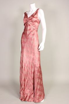 1930's Mauve Lamé Bias Cut Gown | From a collection of rare vintage evening dresses at https://www.1stdibs.com/fashion/clothing/evening-dresses/