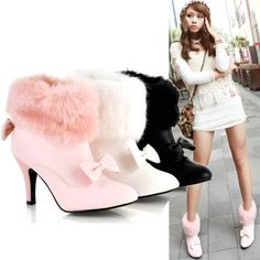 free shipping Bow fur boots ultra high heels boots faux all match boots d322-in Boots from Shoes on Aliexpress.com