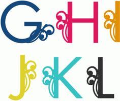 Silhouette Design Store - View Design swirly alphabet g-l