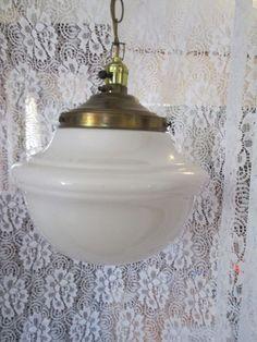Mid Century Vintage swag Lamp Space Ship Space age Milk glass Atomic Eames era
