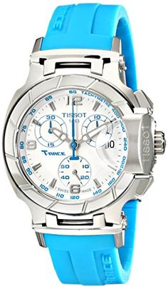 Tissot Women's T0482171701702 T-Race White Dial Blue Silicone Strap Watch -- You can get additional details at the image link.