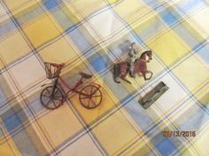 Vintage Miniature Lead Soldier Horse Miniature Metal Bike Bicycle with Basket by EvenTheKitchenSinkOH on Etsy