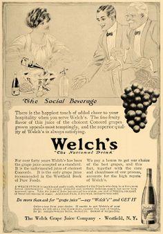 Vintage Welch's Grape Drink Bottles | 1913 Ad Welch's Concord Grape Juice Bottle Westfield NY - ORIGINAL ...