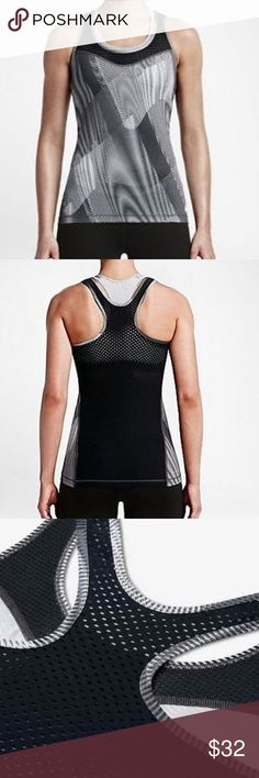 Nike Pro Hypercool Frequency Women's Tank NO TRADES - Dri-FIT fabric helps keep you dry and comfortable Engineered mesh provides comfortable cooling Flat seams move smoothly against your skin Tight fit creates a second-skin feel, ideal for layering Wide armholes and racerback profile for natural range of motion Product Details  Nike swoosh printed near left hem in White Fabric: Body: Dri-FIT 84% polyester/16% spandex. Mesh: Dri-FIT 85% polyester/15% spandex Machine wash Nike Tops Tank Tops