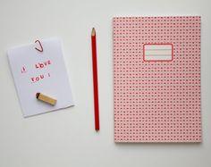 I love you Notebook  School supplies   Pattern by vertceriseshop