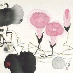 Chen Jialing(陳 家泠 Chinese, b.1937) petunias  More
