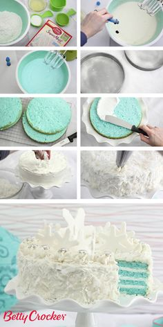 Talk about a wintry mix! Snowy coconut frosting and blue velvet layer cake combine for a pretty cake that's perfect for a holiday celebration, winter party or even a baby shower. Click through for step-by-step instructions and photos.