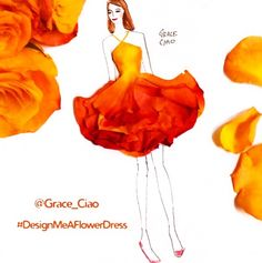 Wedding dress with petal presented! Grace Ciao, Floral Fashion, Fashion Art, Flower Petals, Flower Art, Flowers, Fashion Illustration Dresses, Fashion Illustrations, Dress Sketches