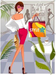 Fashion Women Shopping Illustration