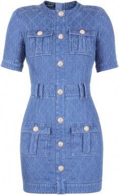 Pocketed Contrast-Stitched Denim Dress by Balmain Short Sleeve Denim Dress, Denim Short Dresses, Blue Dresses, Denim Fashion, Fashion Outfits, Fashion Coat, Fashion Clothes, High Fashion, Fashion Ideas