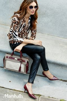 Hear me roar. Pair a loose and flowy leopard-print top with tight, leather skinnies for animal chic. Add a pop of fall's hottest color and dress it up with crimson pumps.