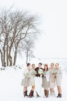 Bridesmaids in snow boots.  We love. #winter #snow #bridesmaids Photography: Paper Antler Photography - paperantler.com  View entire slideshow: 15 Bridesmaid Looks We Love on http://www.stylemepretty.com/collection/289/