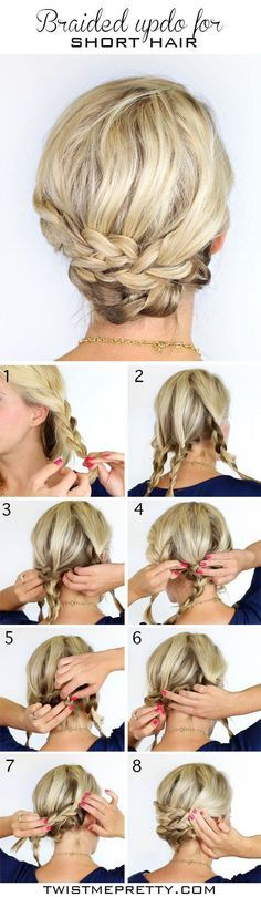 This simple braided updo could easily be used for casual or bridal. I don't know that this is for short hair but great for medium and long hair?