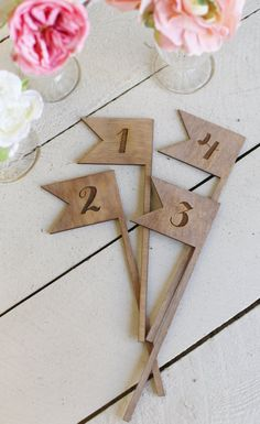 Rustic Table Numbers Flags NEW 2014 Design by by braggingbags