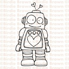 Digital stamp Lovely Robot by BirdieBrown on Etsy Doodle Drawings, Cute Drawings, Doodle Art, Robots Drawing, Creation Art, Doodle Inspiration, Cute Doodles, Digi Stamps, Painting & Drawing