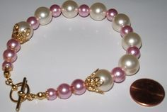 Pink Cream Rose Gold Filigree Plus Size Pearl Bracelets Gifts for Her | MJOYS - Jewelry on ArtFire