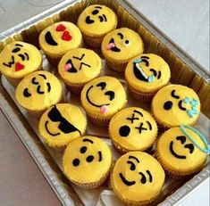 emoji cupcakes! If I had these in my mouth I would eat the emoji with the smiley face with heart eyes