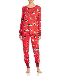 24.30$  Watch here - http://vihid.justgood.pw/vig/item.php?t=9gskp8g25891 - Penquin Print Thermal Knit Pajama Top & Pants 24.30$