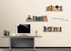 creative bookshelves used in Study room removable art / decorative waterproof and removable wall stickers/ murals wall