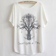 de manga corta de la camiseta de impresión árbol floja de las mujeres – USD $ 7.20