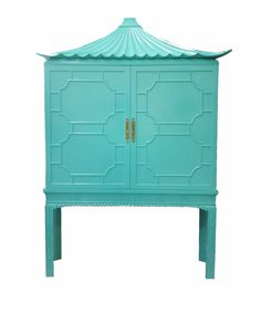 Custom Lacquered Pagoda Cabinet. Perfect bar cabinet in any color.